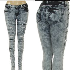 Ripped Rugged Jeans hot plus size acid wash jeans this are very stylish and sheek!! They have great stretch!