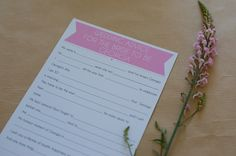 Personalised Hen Party Mad Lib Questionaires - Handmade, Unique & Classy - Hen Night, Hen Weekend, Hen Do, Bachlorette.