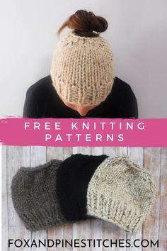 Ponytail Hat Knitting Pattern, Beanie Pattern, Easy Knitting, All Free Knitting, Loom Knit Hat, Loom Knitting, Free Knitting Patterns For Women, Knitting For Beginners, Free Knitted Hat Patterns