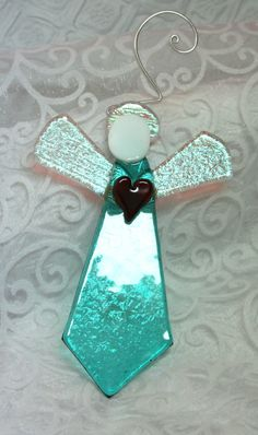 Aqua Dichroic Fused Glass Angel with Silver Halo, Fused Glass Ornament…