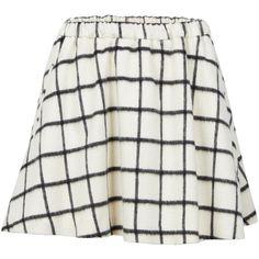 Designers Remix Chekskirt checked wool skirt (3,255 MXN) ❤ liked on Polyvore featuring skirts, cream skirt, short skirts, short wool skirt, skater skirt and flared skirt