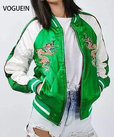 VOGUE!N New Womens Ladies Eagle Dragon Animal Embroidered Reversible Two-In-One Sukajan Yokosuka Bomber Jacket Coat Size SML #Affiliate