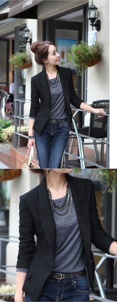 Aliexpress.com: Comprar Nuevas mujeres adelgazan un botón escudo traje chaqueta corta de manga larga negro de chaqueta chic fiable proveedores en northfashion