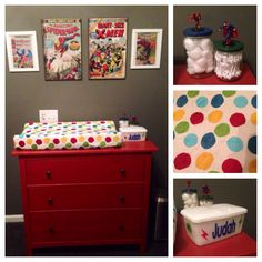 Red Hemnes dresser from IKEA, changing pad from Babies R Us, cover from Amazon (Kids Line Velour- Animal Parade), large comic art from Hobby Lobby and TJMaxx, frames comic books from my husband's collection, wipes container from a friend, w-tip and cotton ball jars from the same awesomely crafty friend
