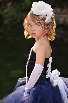 Love everything about this!  Birdcage veil, tutu, pearl necklace...this IS my flower girl! #wedding