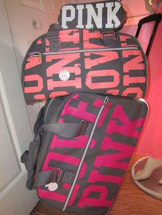 the only way to go on vacation VS Love Pink! Victoria& Secret Pink - Pink -vs pink - vs - cute clothes - work out clothes - pajamas Pink Love, Vs Pink, Pretty In Pink, Pink White, Pink Luggage, Travel Luggage, Luxury Luggage, Luggage Sets, Travel Bags
