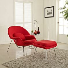 W Fabric Lounge Chair in Red