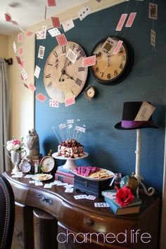 A charming dessert table for an Alice in Wonderland themed party. So many ideas!