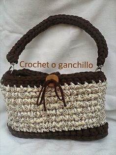 Crochet o ganchillo: Bolso trapillo estampado marrón