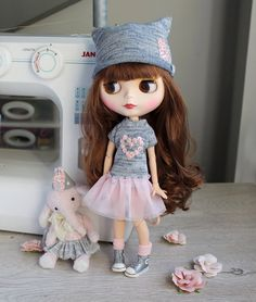 A personal favorite from my Etsy shop https://www.etsy.com/listing/538145765/gray-and-pink-dress-for-blythe-with