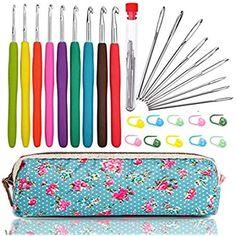 Aluminium Crochet Hook Set Soft Tpr Poignées Aiguilles à tricoter multi color 10//11Pcs