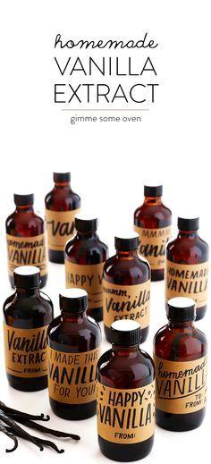 Learn how to make Homemade Vanilla Extract with this easy recipe, which includes (free!) printable labels. | http://gimmesomeoven.com