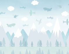 Way up in the clear blue sky! Take an exciting flight in BRIO's planes and helicopters on this customised children's wallpaper. A high-octane wallpaper for a children's room that Star Wallpaper, Kids Wallpaper, Wallpaper Manufacturers, Jungle Scene, Kids Room Art, Kids Bedroom, Bedroom Ideas, Latest Wallpapers, Brio