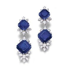 Sapphire And Diamond Pendant Earrings Mounted In Platinum Made By Harry Winston   c.1975   -   Sotheby's