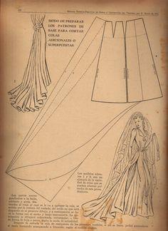 Molde para cola de vestido de novia