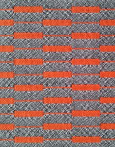Totley.- Named after the Totley transmitter mast on Emley Moor in West Yorkshire. Colourway: Face A – Hot orange with black + white marl accent. Face B - Black + white marl with hot orange accent. 92% pure new wool, 8% nylon. 138cm approx.