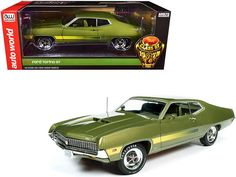 "1970 Ford Torino GT Hardtop Medium Ivy Green Metallic with Green Interior ""Class of 1970"" 1/18 Diecast Model Car by Autoworld Black Deck, Detroit News, Ford Torino, Dual Sport, Rubber Tires, Diecast Model Cars, Tail Light, Muscle Cars, Ivy"