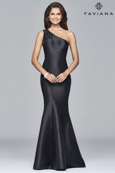 Long mikado one shoulder dress with bead detailing | Faviana Style S7973