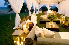 Set up couches to create a relaxed atmosphere in your tent. www.tentluxuryhire.com.au