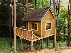 How to Build a Treehouse : How-To : DIY Network  We could build this and add the swing set onto it