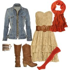 denim jacket + boots + dress + red thights + red scarf + belt
