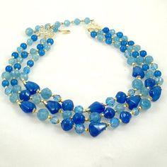 Vintage 1960s Necklace Multi Strand Blues Capri Sea by Revvie1, $20.00