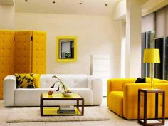 Living Room Design With White And Yellow Couch And Coffee Table Also Yellow Folding Partition And White Rugs For 2014