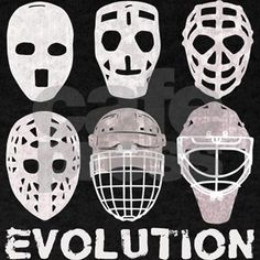 Shop Hockey Goalie Mask Evolution Dark T-Shirt designed by Brando. Lots of different size and color combinations to choose from. Ice Hockey Rink, Hockey Goalie, Mask Tattoo, Goalie Mask, Evolution T Shirt, Crafts To Make, Shirts, Dark, Botanical Illustration
