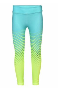 Nike Girls Dri Fit Swoosh Leggings Pants Hyper Jade  amp  Yellow Size 6   Nike b02bba8cb8d