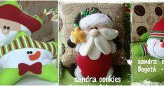 Tutorial de Cojines y muñecos navideños con moldes para hacer Christmas Stockings, Christmas Ornaments, Ideas Para, Santa, Holiday Decor, Home Decor, Cookies, Blog, Throw Pillows