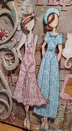 Made by Bonnie Linhart. Prima Paper Dolls, Prima Doll Stamps, Vintage Paper Dolls, Vintage Tags, Mixed Media Canvas, Doll Crafts, Scrapbook Paper Crafts, Bottle Crafts, Doll Patterns
