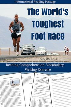 Informational Reading Passage - The Toughest Foot Race on Earth.  This packet includes an informational article about the Badwater Ultramarathon. The passage covers who runs and why, and the harsh conditions the racers face running across Death Valley. The pavement can get so hot it can melt the soles of the runners' shoes!  Questions on main ideas, reading comprehension, and vocabulary. Perfect for Subs!