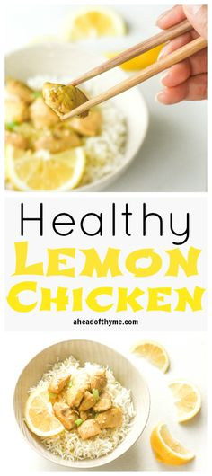 Healthy Lemon Chicken: A twist on a classic sweet and tangy Chinese dish, this healthy version of lemon chicken is quick and easy! | aheadofthyme.com