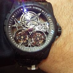 Enjoying the moment with a Roger Dubuis Excalibur Double Tourbillon Volant Squelette in Titanium on my wrist. This particular one is a unique piece (initials of buyer NBA).#rogerdubuis#excalibur#tourbillon#doubletourbillon#squelette#skeleton#titanium#dubai#abudhabi#doha#singapore#hongkong#tokyo#newyork#losangeles#london#amazing by hourclass