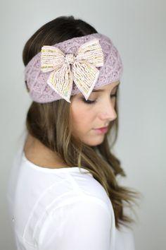 pink knitted headband ear warmer head muff pink by gertiebaxter, $28.50