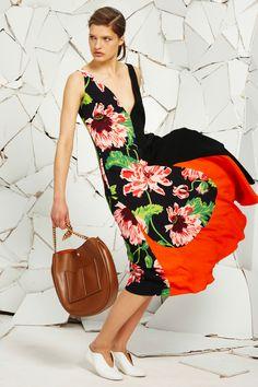 Black Large Poppy Cady Print Maeva Dress, White Alter Nappa Ballerina and Tan Plonge Alter Nappa Bag