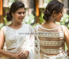 Looking for lace blouse designs for sarees? Here are our picks of 10 trending blouse models that will make you flaunt this blouse with style. Blouse Back Neck Designs, White Blouse Designs, Netted Blouse Designs, Lace Saree, White Saree, Stylish Blouse Design, Blouse Models, Indian Outfits, Indian Clothes