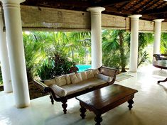 The veranda at the Colonial Surangana Villa in Sri Lankas