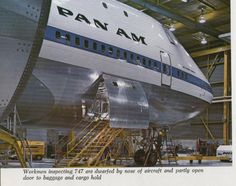 Early [Pan American World Airways] (Pan Am), Boeing {forward] in a maintenance bay. Commercial Plane, Commercial Aircraft, Airline Travel, Air Travel, International Airlines, Boeing Aircraft, Pan Am, Fear Of Flying, Civil Aviation