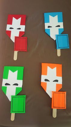 Castle Crasher party favors that hubby made with foam poster board, duct tape, and craft sticks.