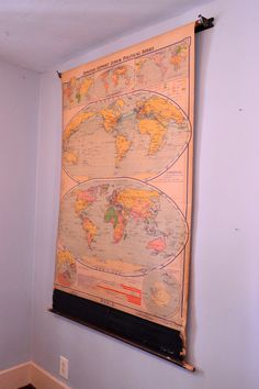 Vintage Pull Down World Map 1938 Denoyer Geppert by ScoutandForge