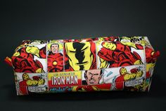 Boxy Makeup Bag - Iron Man Comic Panel Print Zipper - Pencil Pouch for $10 +s&h by LittlePeachFuzz on Etsy
