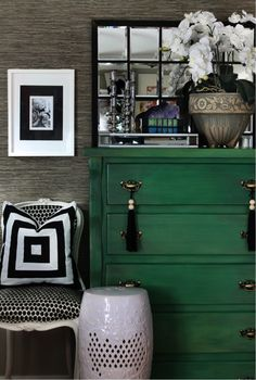 Tassels on the dresser. Traditional twist to a very black and white modern bedroom #gardenstool #emerald