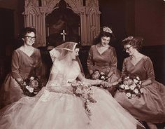 1950s Bride and Bridesmaids photo by Strands Studio of Rugby, North Dakota | by thstrand