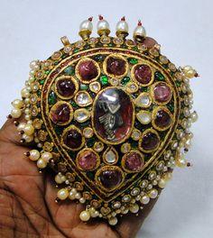 22 K gold vintage kundan meena Krishna pendant by TRIBALEXPORT, $7500.00