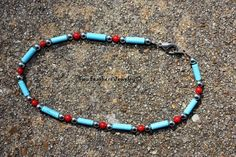 Turquoise And Coral  Beaded Anklet  by TwoFeathersJewelry on Etsy, $12.00