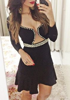 Black Plain Cut Out Studded V-neck Mini Dress
