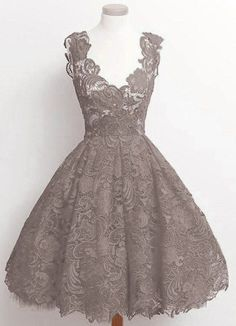 Vintage A-line Scalloped-Edge Knee-Length 50s Lace Black Prom ...