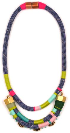 Holst + Lee , multi-colored rope necklack with wrapped contrasting-colored string and gold details, modern and ethnic