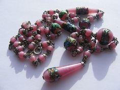 Vintage Art Deco Rainbow Drizzle Foil Bead Sautoir Flapper Necklace Glass (02/12/2013)